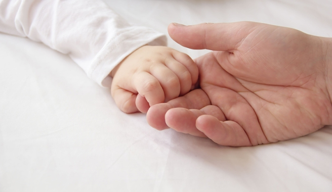 Tiny hand of son and big hand of dad